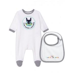 White Velour Babygrow Gift Set