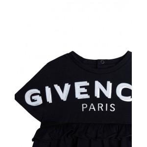 Black cotton logo dress