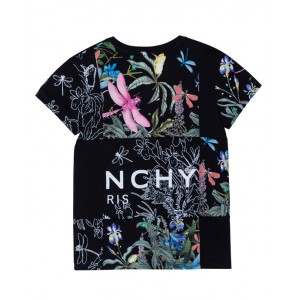 Black floral graphic print T-shirt
