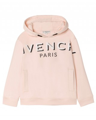 Light pink hooded sweatshirt with logo