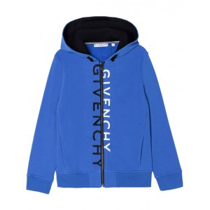 Blue zip-up hoodie with the brand's logo