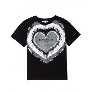 Black heart tie dye effect T-shirt