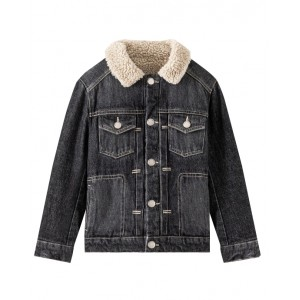 Denim jacket with fur collar