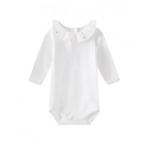 Onesie with cherry embroidery collar