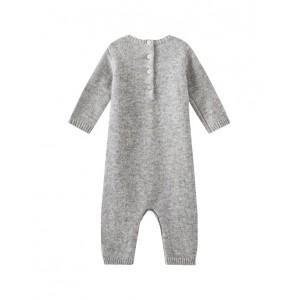 Intarsia cashmere onesie in heather grey