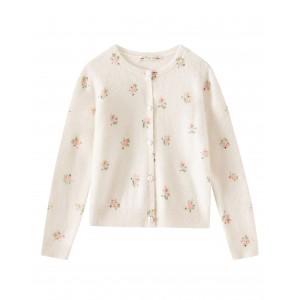 Flower printed cashmere cardigan in milk white