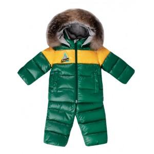 Green two-part snowsuit