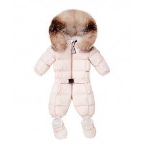 Pale pink baby snowsuit
