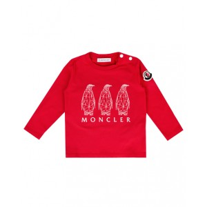 Red cotton long sleeve T-shirt with penguins graphic print