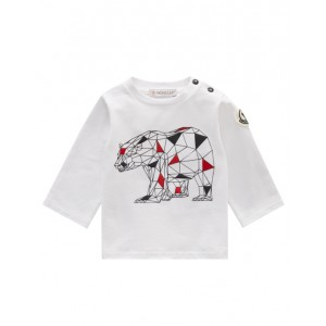 White cotton long sleeve T-shirt with bear graphic print