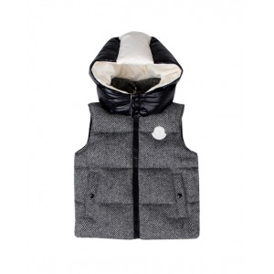 Black and white padded hooded gilet