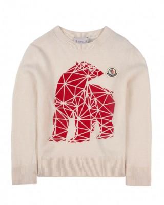 Bear print jumper in white