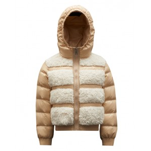 Beige hooded down-padded puffer jacket
