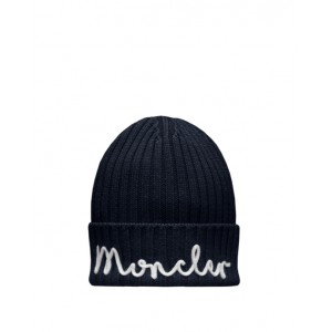 Knitted hat with embroidered logo