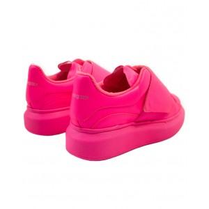 ALEXANDER MCQUEEN Neon pink leather sneakers