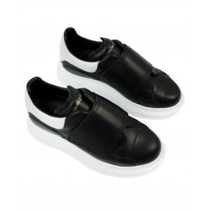 ALEXANDER MCQUEEN Black oversized leather sneakers