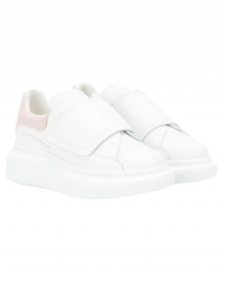 ALEXANDER MCQUEEN White and pink leather sneakers