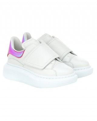 ALEXANDER MCQUEEN White and pink holo oversized sneakers