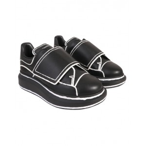ALEXANDER MCQUEEN Black leather oversized sneakers