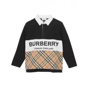 BURBERRY Long-sleeve logo print polo shirt