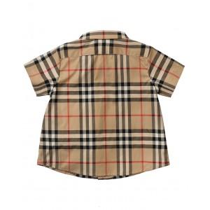 Check print shorts-leeved shirt