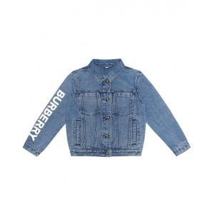 Denim jacket with a logo print