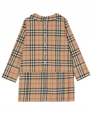 Vintage check long-sleeve dress