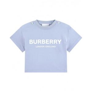 BURBERRY Baby-blue logo print T-shirt