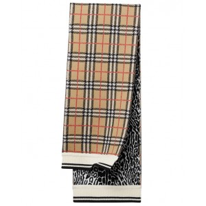 BURBERRY Check and leopard print scarf