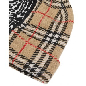 BURBERRY Leopard and check pattern beanie