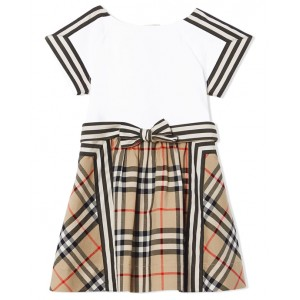 BURBERRY White and check print dress with buttons