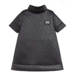 BURBERRY Black neoprene monogram dress