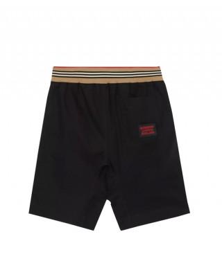 Icon stripe detail black cotton shorts