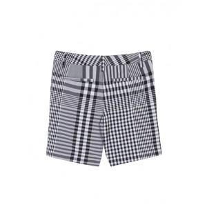 Black cotton check poplin shorts