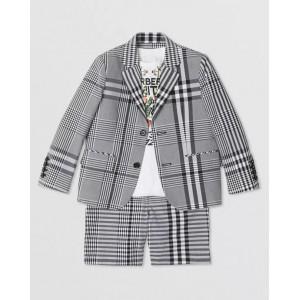 Black cotton check poplin blazer