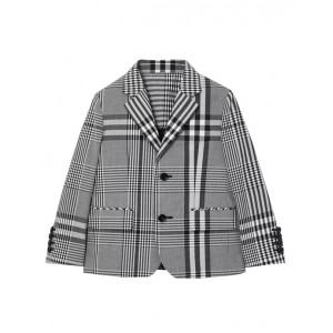 Black cotton check poplin blazer