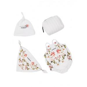 Three-piece baby gift set in white