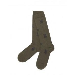 Star and monogram motif green socks