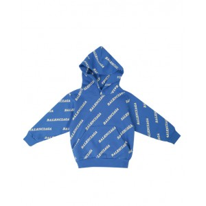 BALENCIAGA All over logo print cotton hoodie