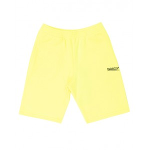 Neon Yellow Cotton Logo Shorts