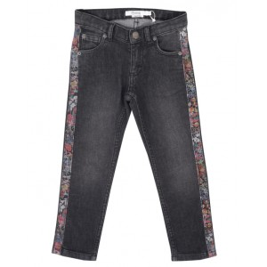 Black denim jeans with flower motif