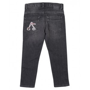 BONPOINT Black denim jeans with flower motif