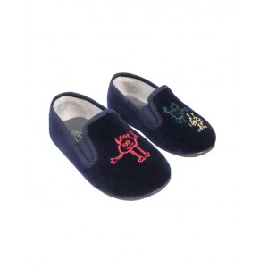 Navy slippers with monsters embroidery