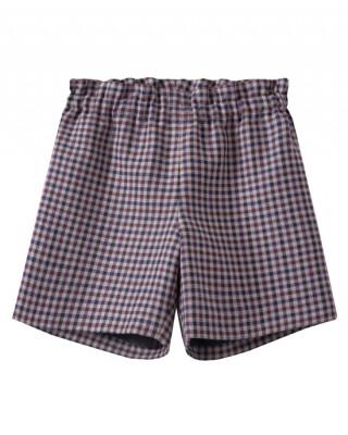 Girls' wool blend check print shorts plum