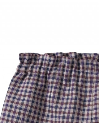 Girls' wool blend check print shorts plum