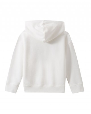Girls' white sweatshirt with colorful embroidery