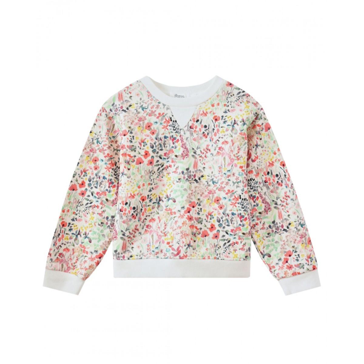 Girls' floral print sweatshirt