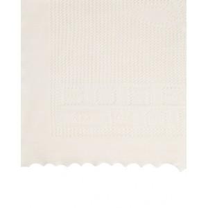 Ecru knit blanket with logo