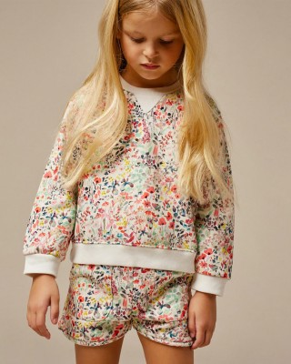 Girls' floral print sweatshirt