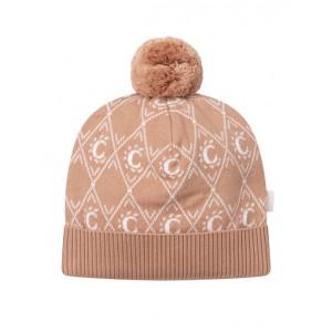 Beige knitted monogram hat